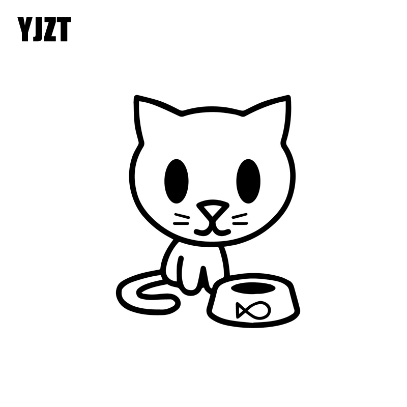 YJZT 8.9CM*11.4CM Kitten With Food Bowl Vinyl Decal Car Sticker Cat Feline Hungry Pet Love Black Silver C10-02433