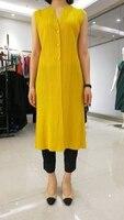 miyake wrinkles simple fashion style long solid pure cardigan sleeveless vest free shipping