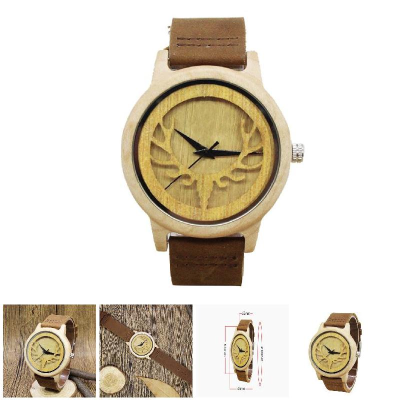 Simple Fashion Men Wood Quartz Watch Cow Leather Strap Watches Hollow Dial Clock Man Casual Wristwatch Gifts LL@17 men causal military quartz watch silicone stripe strap wristwatch casual sports watches date clock gifts for boy friend ll 17