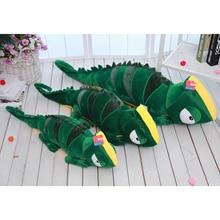 80 см зелена гущер плюшена играчка, хамелеон плюш възглавница възглавница, гущер пълнени кукла