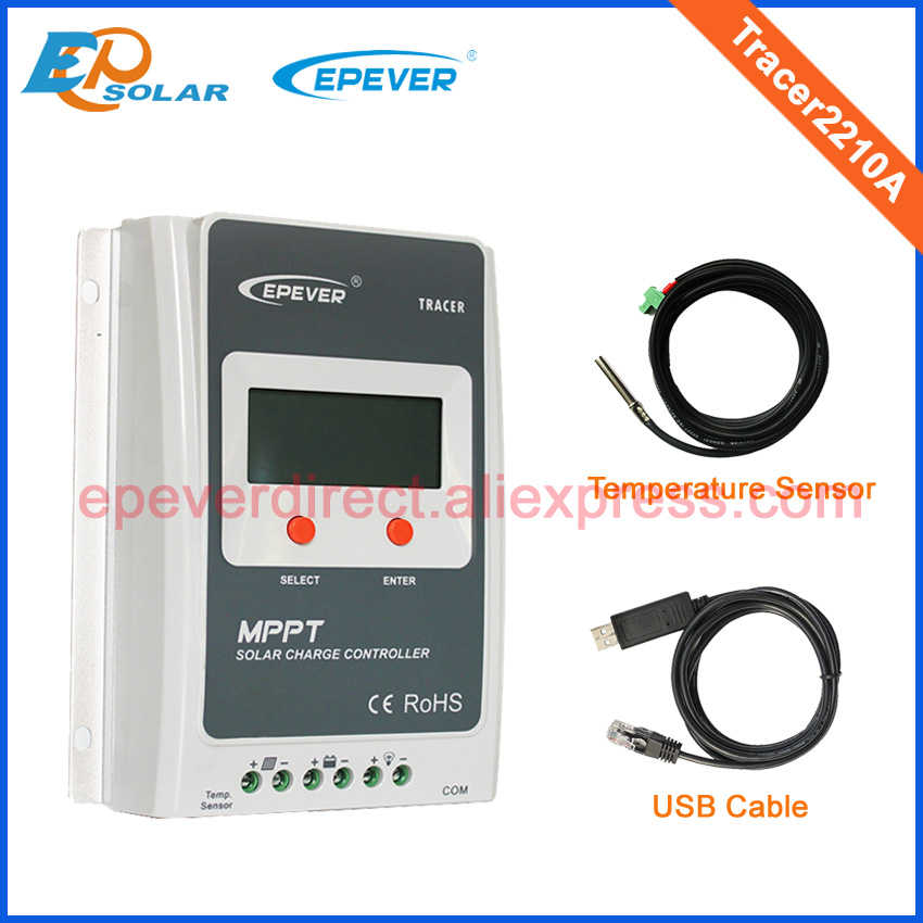free shipping Tracer2210A with USB cable and temperature sensor for solar charging regulator home use 20A 20amp free shipping kapro 810 line laser with nail and screw grip for hanging shelves pictures mirrors and aligning panels tiles a