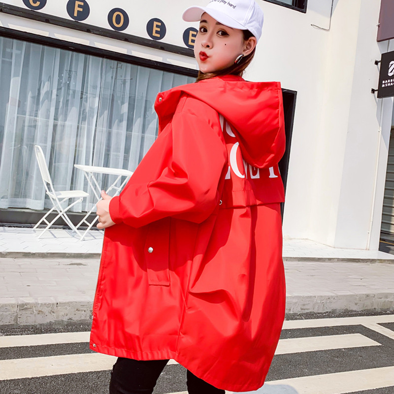 2019 Fashion Hooded   Trench   Coats Women Spring Autumn Large Size Solid Outerwear Female Long Sleeve Casual Loose Windbreaker