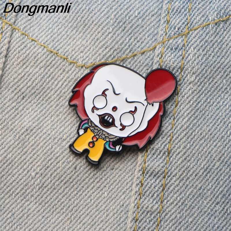 DMLSKYน่ากลัวClown Enamel PINและเข็มกลัดสำหรับเสื้อผ้ากระเป๋ากระเป๋าเป้สะพายหลังป้ายเด็กตลกเข็มกลัดเสื้อเข็มกลัดM2497