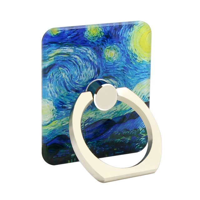 van gogh Oil Painting Metal Ring Universal Mobile Cell Phone Stand Holder for iphone Smartphone Adjustable Support Phone Holder
