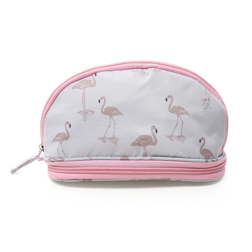 1 Stück Flamingo Kosmetik Tasche Frauen Double Layer Reise Make-up Tasche Taschen Rund Pinsel Organizer Travel Pouch Handtasche Kulturbeutel