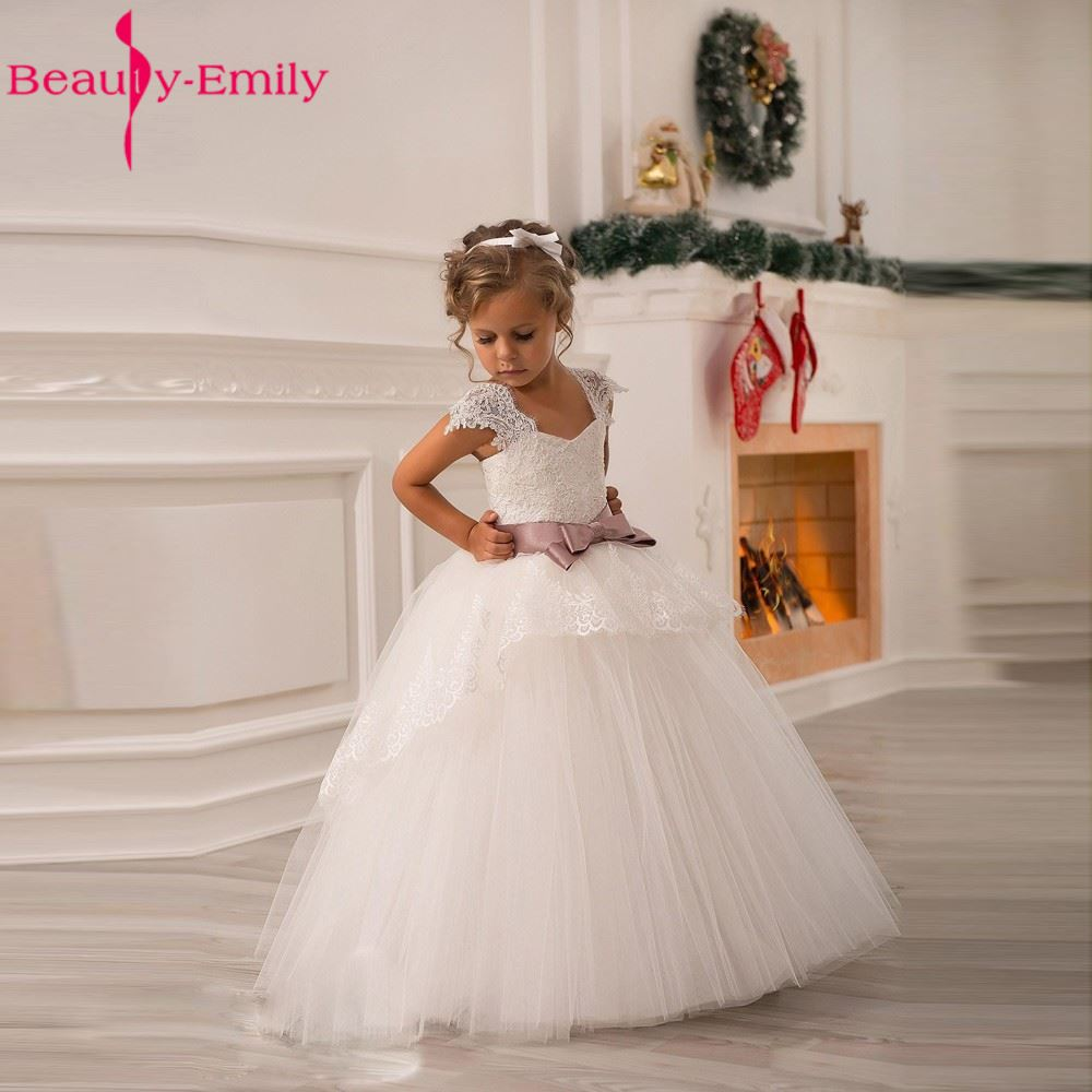 2018 Hot White   Flower     Girls     Dresses   For Wedding Gowns Cap Sleeve Lace Sash Bow   Girl   Birthday Party   Dress   Zipper Tulle Page