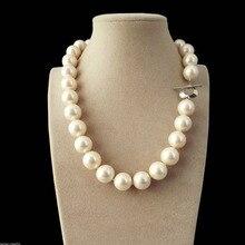 Горячая распродажа, женские свадебные украшения> из натурального жемчуга 14 мм, жемчужные круглые бусы 18 дюймов