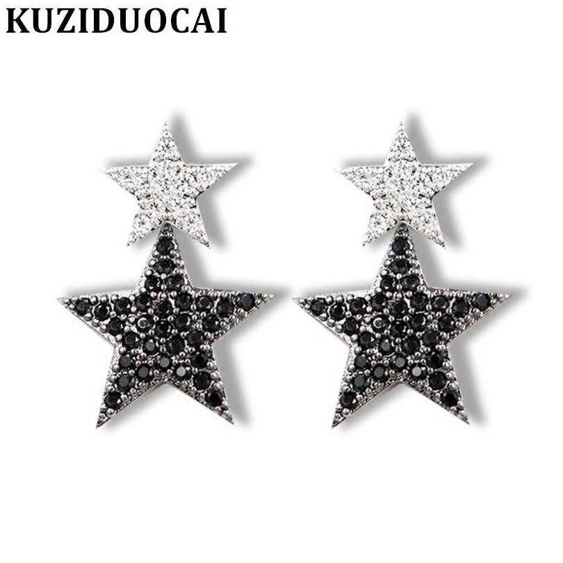 Kuziduocai New Fashion Jewelry Full Rhinestones Copper Statement Star Stud Earrings For Women Gifts Brincos Pendientes E-802