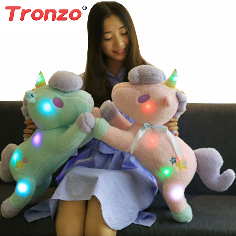 Tronzo 55cm Large Super Cute Light Colorful Plush Toy Unicorn Light Pillow Home Furnishing Decoration Office Sleeping Pillow super cute plush toy dog doll as a christmas gift for children s home decoration 20