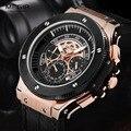 Megir Chronograph Luminous Dos Homens Pulseira de Couro relógios de Pulso de Quartzo Moda Militar Sport Watch para o Homem À Prova D' Água 2035 Preto