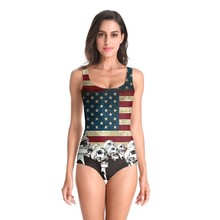 цена на 2019 American Flag Swimwear Women One Piece 3D Prints Swimsuit Monokini Bodysuit Swimming Bathing Swim Swiming Suit Bikini Mujer