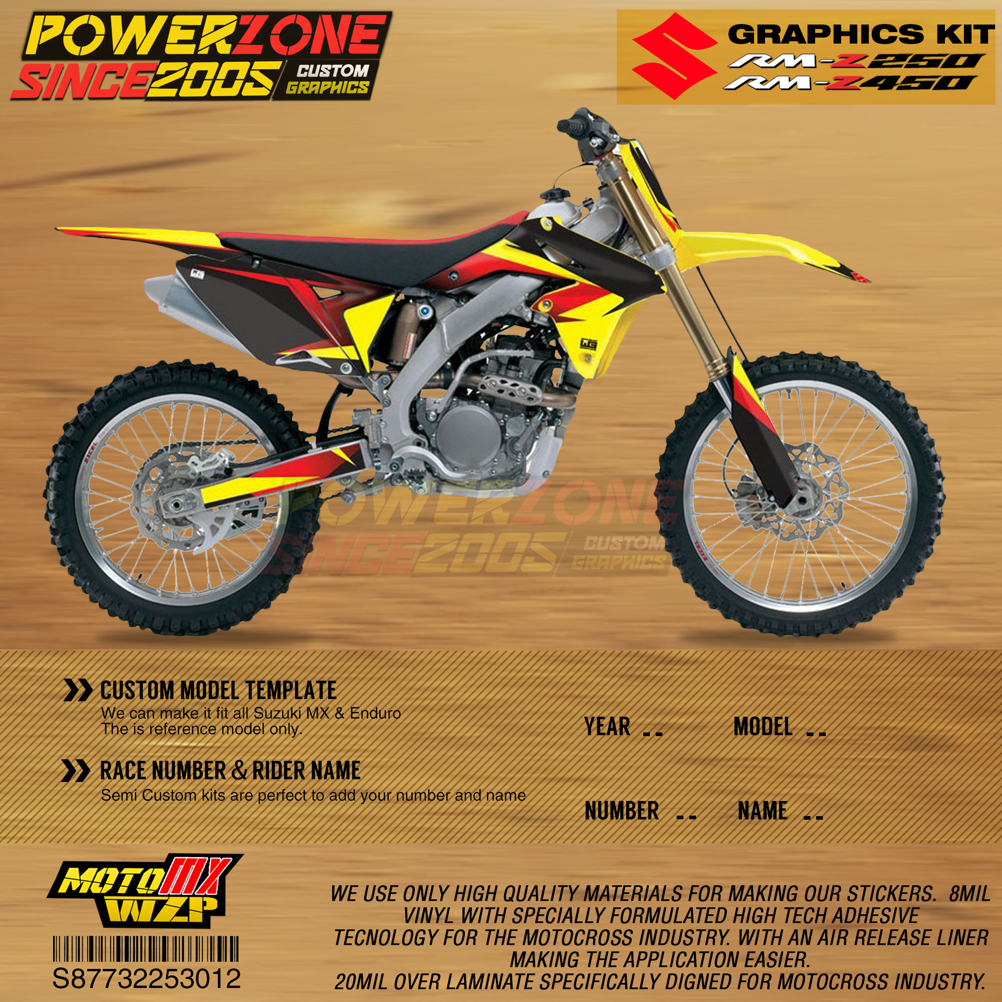 PowerZone Custom Team Graphics Backgrounds Decals 3M Stickers Kit For Suzuki RMZ250 04-06 07-09 10-18 RMZ450 08-17 RM 03-08 012
