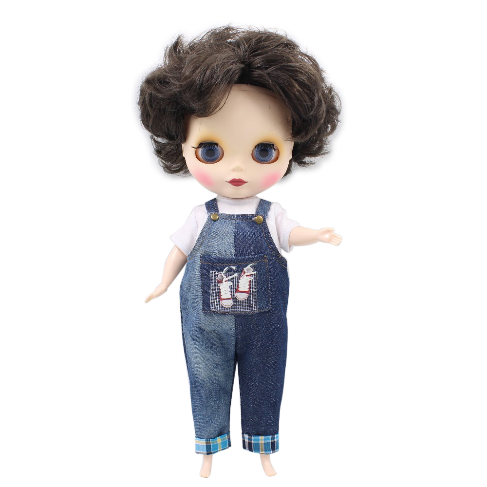 Free shipping factory plump blyth doll 1/6 30cm black short hair fat body white skin matte/frosted face gift toy 70BL950 цена