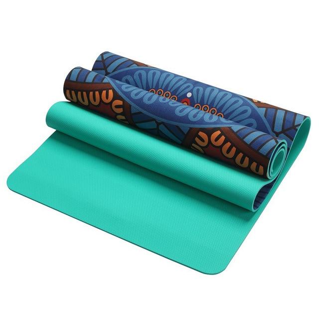 6 MM Lotus Pattern Suede TPE Yoga Mat Pad Non slip Slimming Exercise Fitness Gymnastics Mat