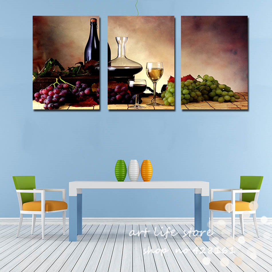 3 Pieces Free Shipping Modern Wall Oil Painting Abstract wine fruit ...