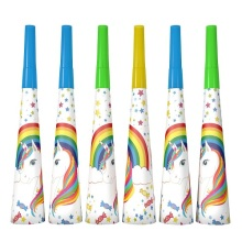 6pcs/lot hot new rainbow unicorn party Noise maker & Trumpet birthday decoration supplies