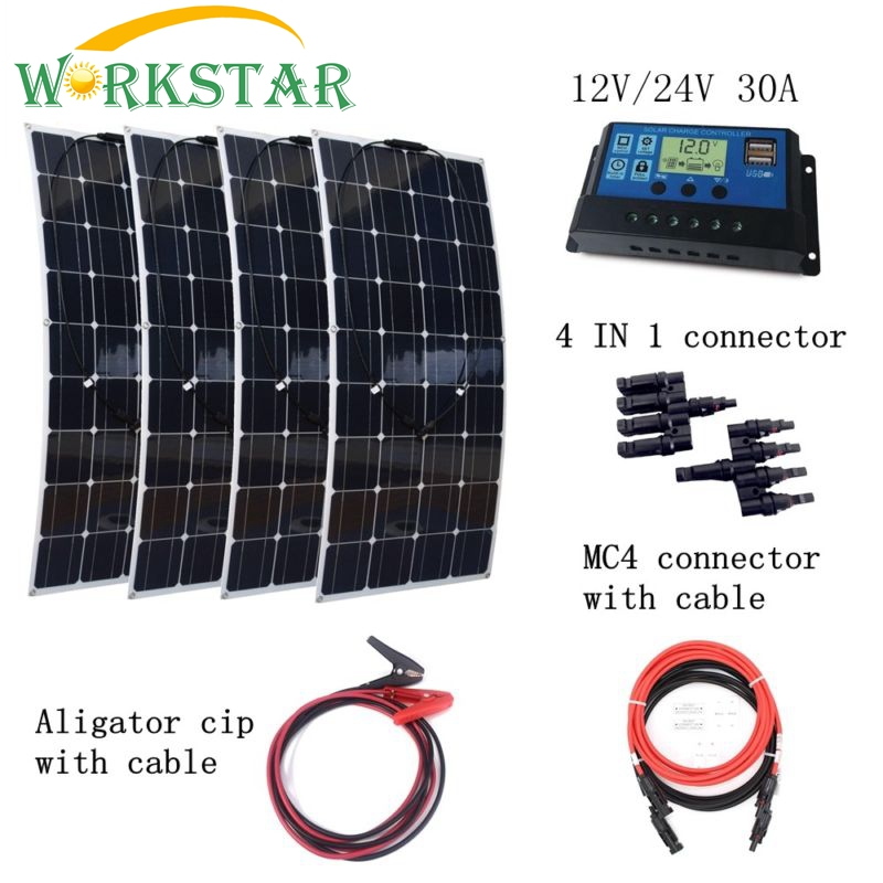 4pcs Mono 100W Flexible Solar Panel Charger with 30A controller Quick Connection Cables Houseuse 400W Solar Power System Kits 4pcs 100w flexible solar panel with mppt 30a controller and mc4 y connectors for 12v battery solar charger houseuse solar kit