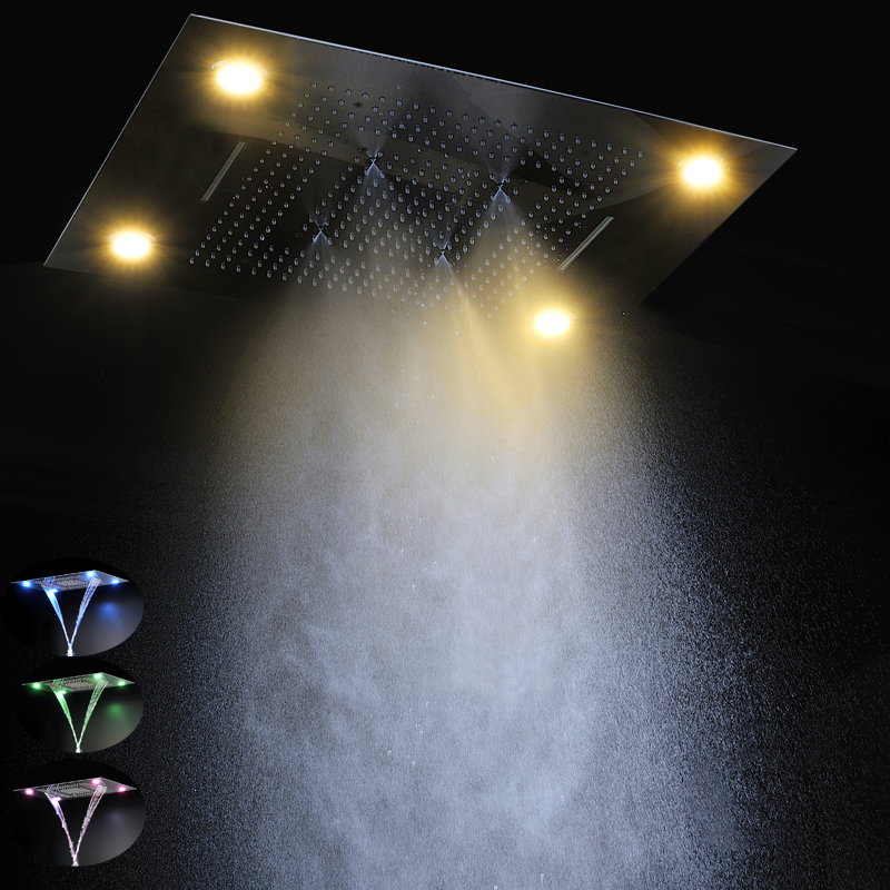 Modern Showerheads 600*800mm LED Spray Head Remote Control Led Color 304  Stainless Steel Rain