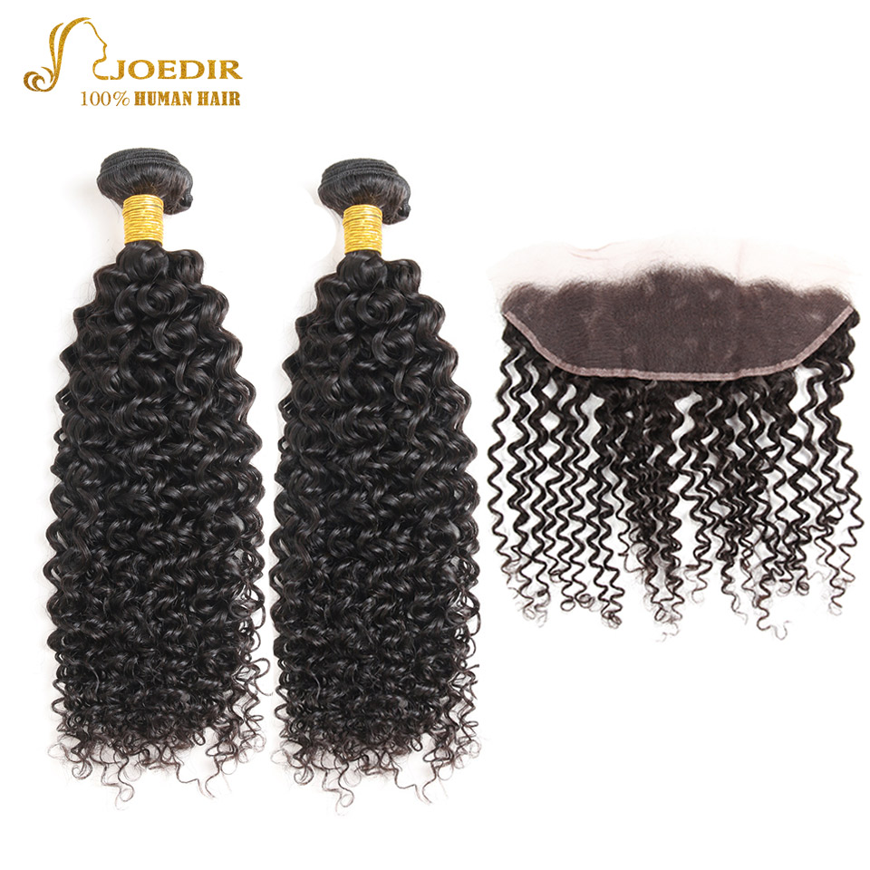Joedir Kinky Curly 2 Bundles With Closure Hair Extension Malaysian Hair Bundles With 13 x 4 Lace Closure Wet And Wavy Human Hair