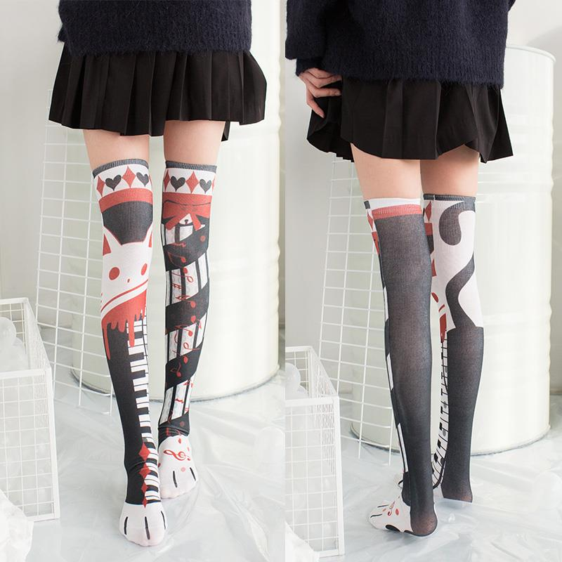 2019 1 Pair Cute Cat Long Knee Sock Girls Womens Fashion Printed Thin Nylon Stockings Opaque Female High Over Knee Socks 5S-SW02