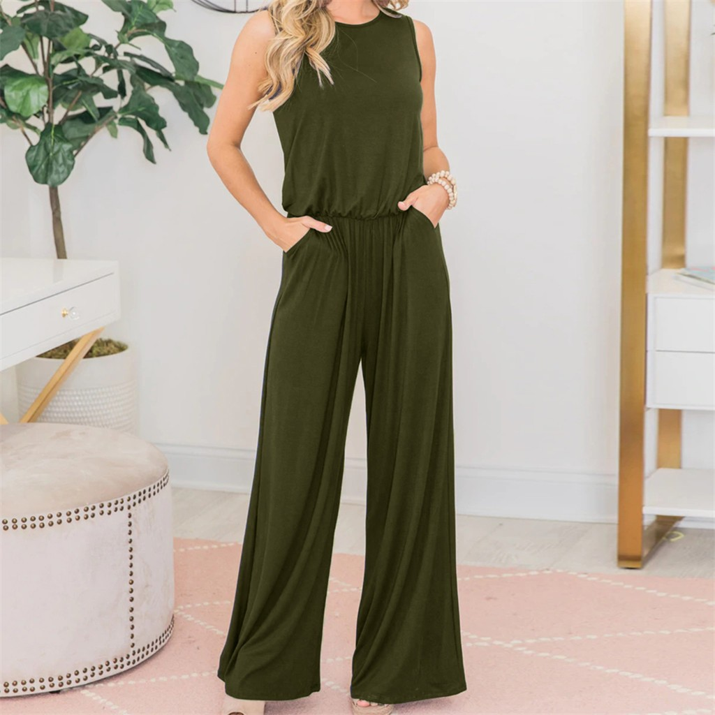 Overalls For Women Long Jumpsuits Woman Long Pants Solid Casual Sexy Sleeveless Elegant Women Summer Long Jumpsuit Rompers