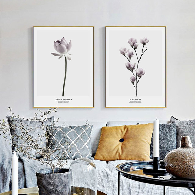 Nordic Lotus Flowers Poster Print Scandinavian Canvas Painting For Living Room Magnolia Wall Picture Art Home Decor No Frame
