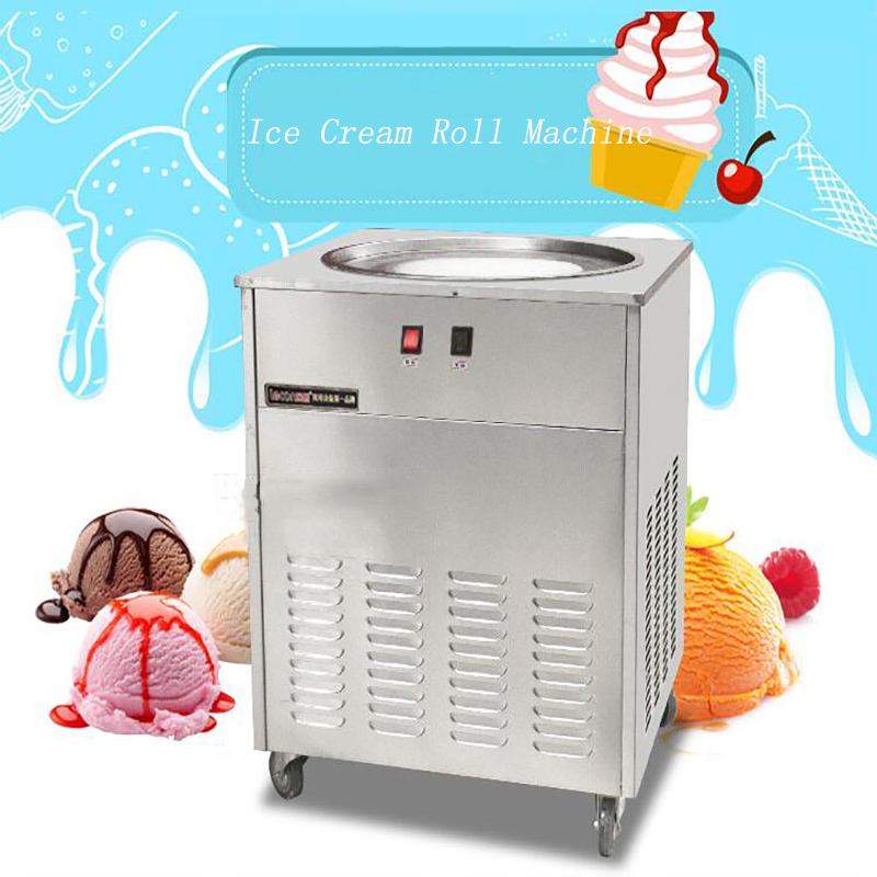 Commercial Fried ice machine 48cm Single Round Pan Fried Ice Cream Roll Machine Ice Cream Maker NB100S 220v 110v ce flat pan fried ice cream roll machine fried ice machine stainless steel freezing ice cream machine with glass cover