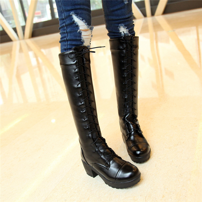Mid Calf Boots Knight Platform Women Shoes Black White Block Heels Leather Fashion Lace Up Shoes Ladies Winter Boots Plus Size aiykazysdl lolita pink white lace up high heel student shoes cosplay platform chunky block mid calf short boots women plus size