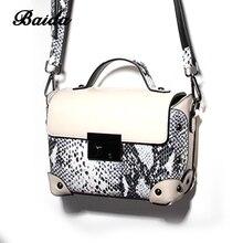Euramerican Joint Genuine Leather single-shoulder bag Serpentine Satchel Messenger Bag Female Baguette