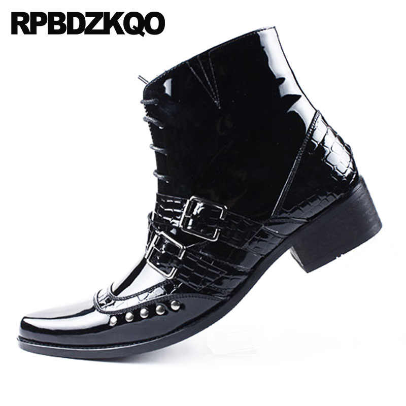 2ed4bed6760 Rivet Punk Snakeskin Mens Black Patent Leather Boots Rock Booties Pointed  Toe Fall Shoes Stud British