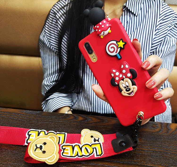 For Huawei P20 3D minnie case, Cute Bear Doraemon Soft back cover for Hauwei P20 / P20 lite (nove 3e) / P20 pro cases + straps