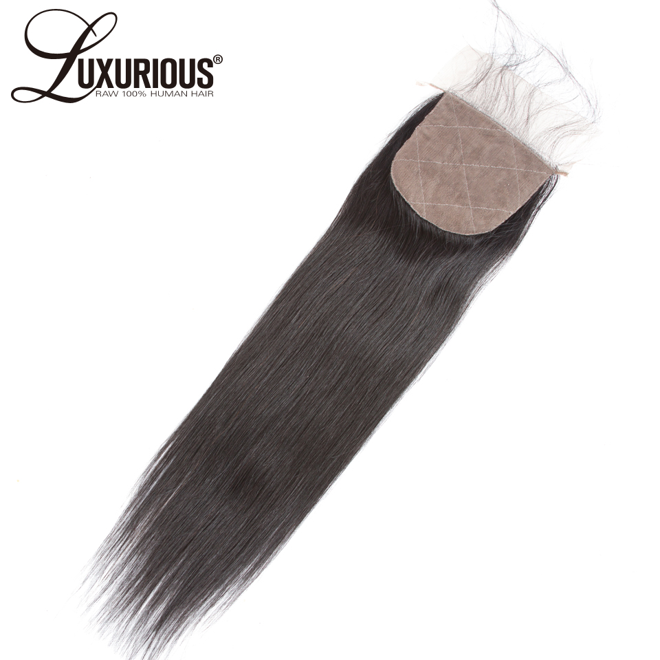 Straight 4*4 Silk Base Closure Free Part Natural Color 8-20inch Silk Top Lace Closure 100% Brazilian Remy Hair With Baby Hair