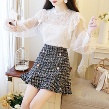 Autumn Women Vestido Sweet Lace Blouse Top & Tweed Fishtail Skirts Two-Piece Outfit Clothing Set Lady Design Clothes Girl S M L