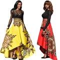 Nova Vindo Moda Mulher Saias Grandes Balanço Nacional Africano Impresso Saias Longas Tornozelo-comprimento Projeto Popular Hi-lo saias Em Linha