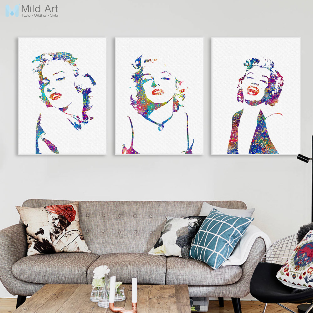 Marilyn Monroe Filmstar Original Aquarell Kunstdruck Poster Große - Wohnkultur - Foto 1