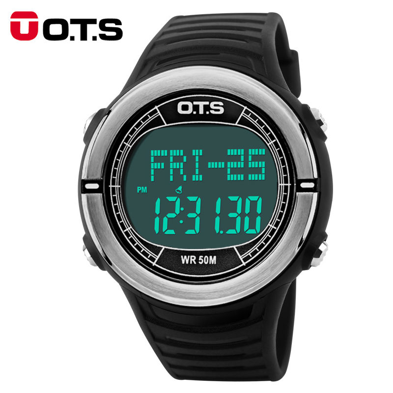 OTS Heart Rate Monitor Watch Sphygmograph Pulse Digital Clock Pedometer Countdown Waterp ...