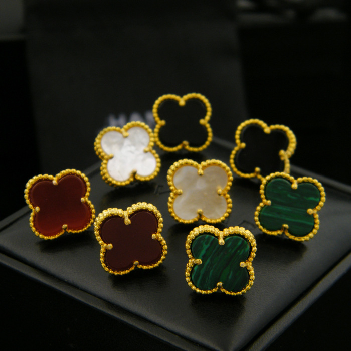 High quality Brand four leaf leaf stud earrings plated all classic jewelry for women brincos shell 1.2cm four leaf earrings