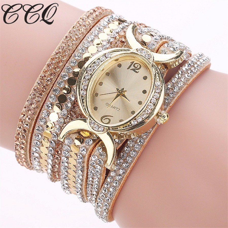 CCQ Brand Women Bracelet Wristwatches Fashion Gold Rhinestone Quartz Watches Ladies Watch Clock Women Female Girls Gift 2017 New