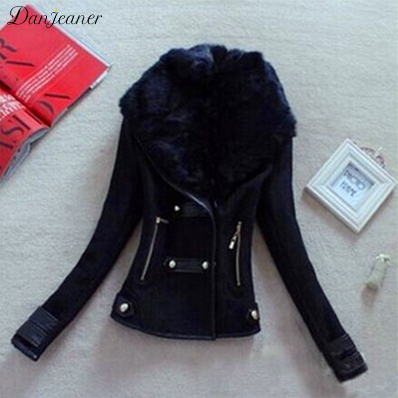 Danjeaner Women Winter Elegant Wool Collar Slim Fit Short   Jacket   Coat Large Size Thick Warm   Basic     Jackets   Female Outwear Coats