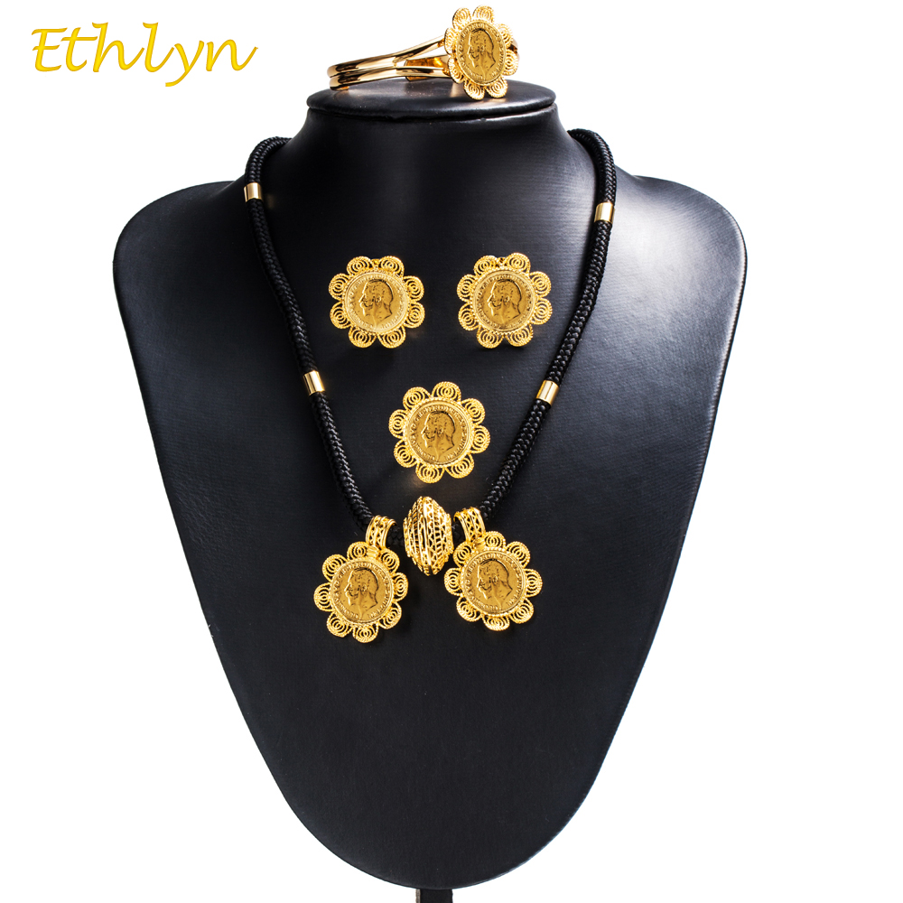 Ethlyn 2017 DIY Gold Color Women Ethiopian Coins Jewelry Sets Wedding Party Engagement Jewelry Accessories S067