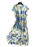New swallowtail swaddled sleeve silk dress women's long round neck mulberry silk dress summer wear thin