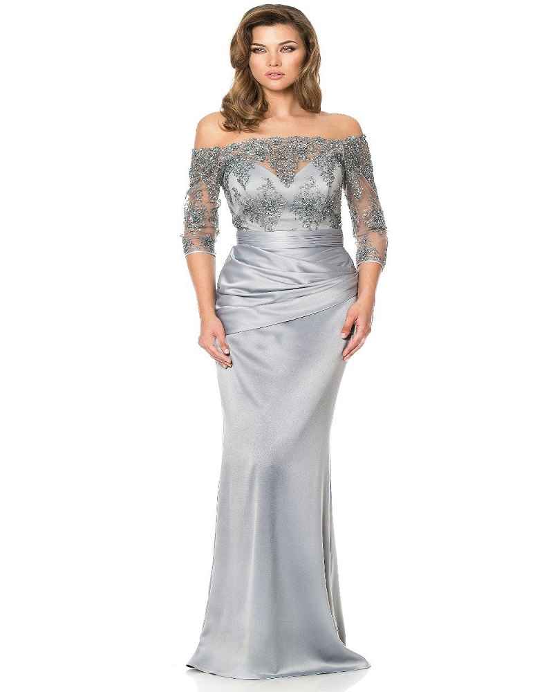 sleeves 2016 mother of the bride dresses mermaid silver satin appliques lace long evening dresses mother