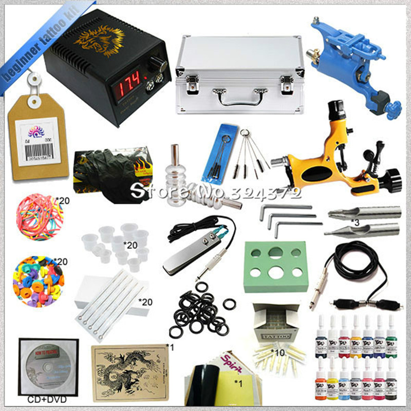 Hot sell starter 2 rotary tattoo kit with teaching CD, Complete tattoo kit with power supply needles inks and tattoo accessories team up starter 1 test resource audio cd test maker cd rom