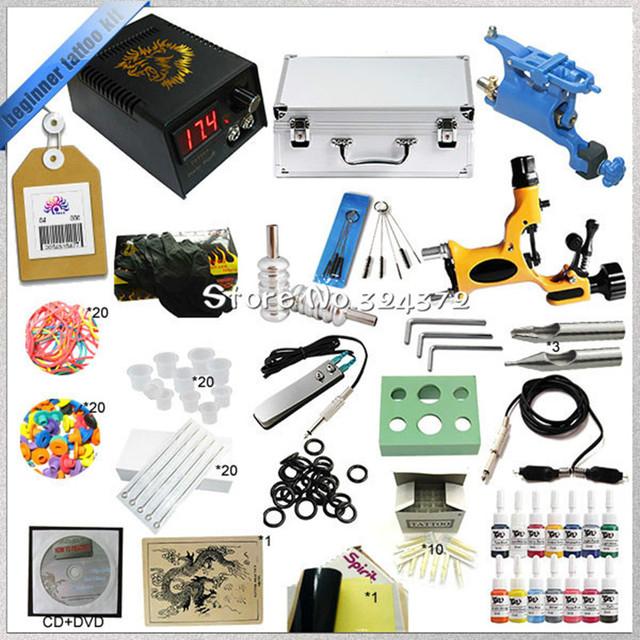Venta caliente 2 rotary tattoo kit de arranque con la enseñanza de CD, kit de tatuaje completo con poder agujas de suministro de tintas y accesorios del tatuaje