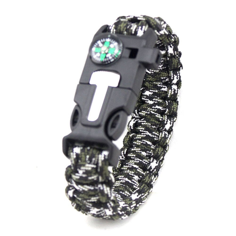 1PC Durable Compass Fire Starter Whistle Buckle Emergency EDC Survival Paracord