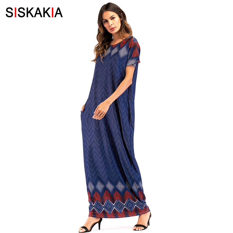 Siskakia Summer 2018 Maxi long dress women loose big size round neck short sleeve Casual T shirt dresses straight Ankle Length