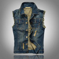 2015 New Fashion Mens Denim Vest Vintage Sleeveless Washed Jeans Waistcoat Man Cowboy Ripped Jacket Plus