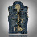 2016 Ripped Jean Jacket Mens Denim Vest Plus Size 5XL 6XL Jeans Waistcoat Men Cowboy Brand Sleeveless Jacket Male Tank Top JA335