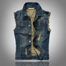 2016 Ripped Jean Jacke Herren Jeansweste Plus Größe 5XL 6XL Jeans Weste Männer Cowboy Marke Sleeveless Jacke Männlichen Tank Top JA335
