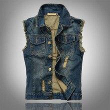 2016 Ripped Jean Jacket Mens Denim Vest Plus Size 5XL 6XL Jeans Waistcoat Men Cowboy Brand